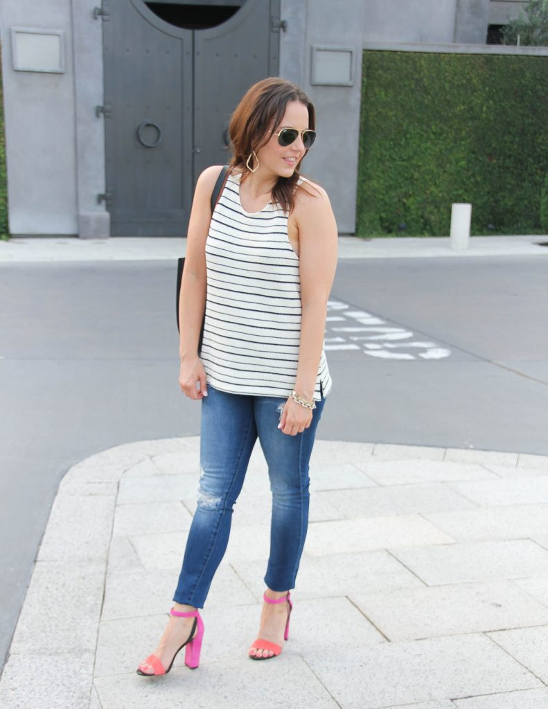 Casual Summer Outfit | Striped Tank Top | Pink Block Heel Sandals | Lady in Violet | Houston Fashion Blogger