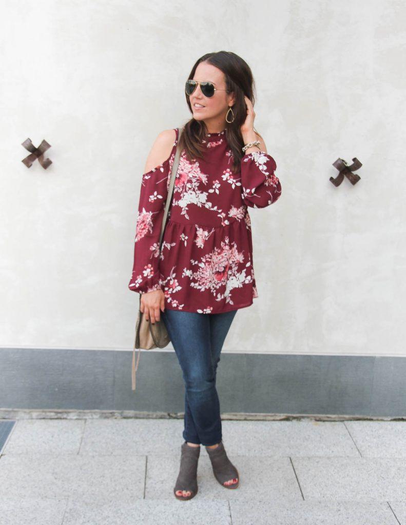 Fall Outfit | Burgundy Floral Blouse | Skinny Jeans | Peep Toe Booties | Lady in Violet | Houston Fashion Blogger