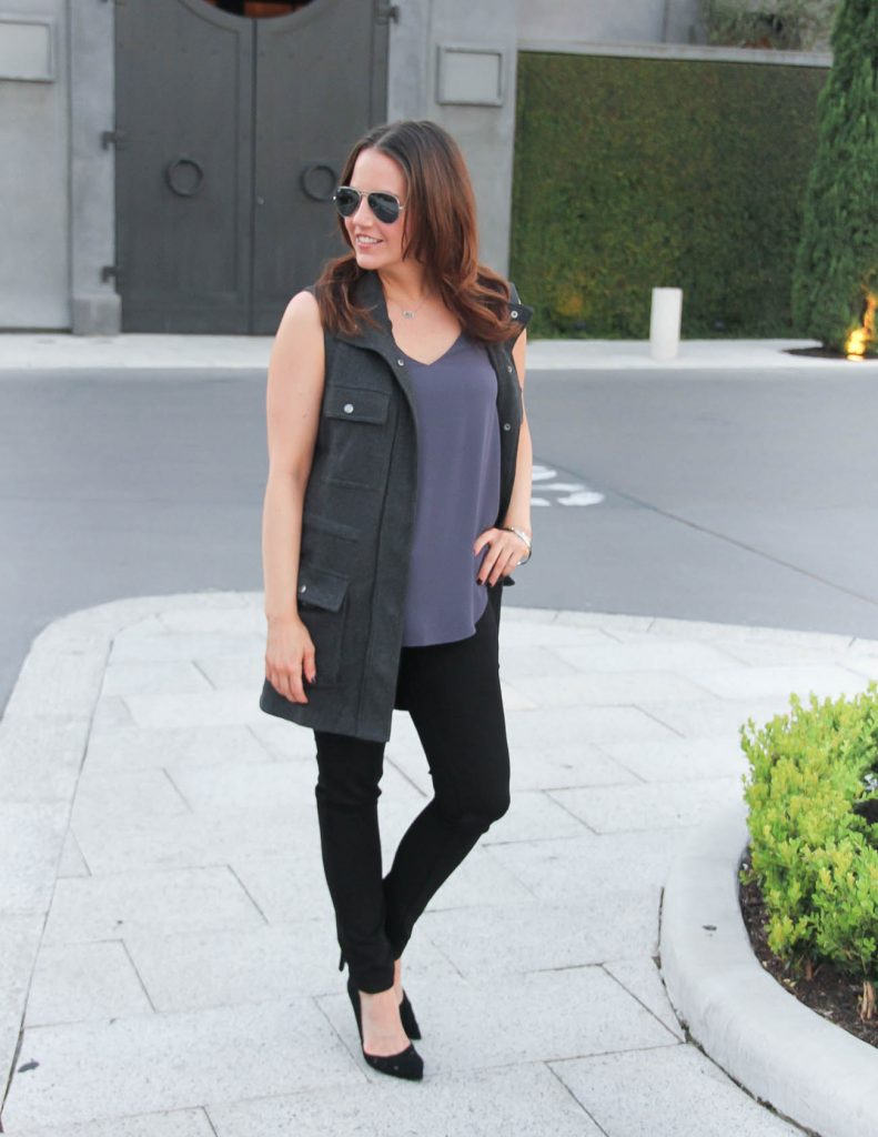 Fall Outfit | Gray Utility Vest | Black Skinny Jeans | Lady in Violet | Houston Fashion Blogger