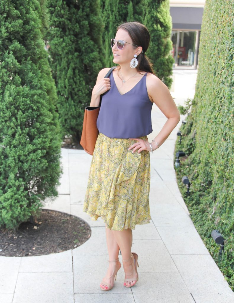 Summer Office Outfit | Purple Cami | Yellow Ruffle Skirt | Lady in Violet | Houston Style Blogger