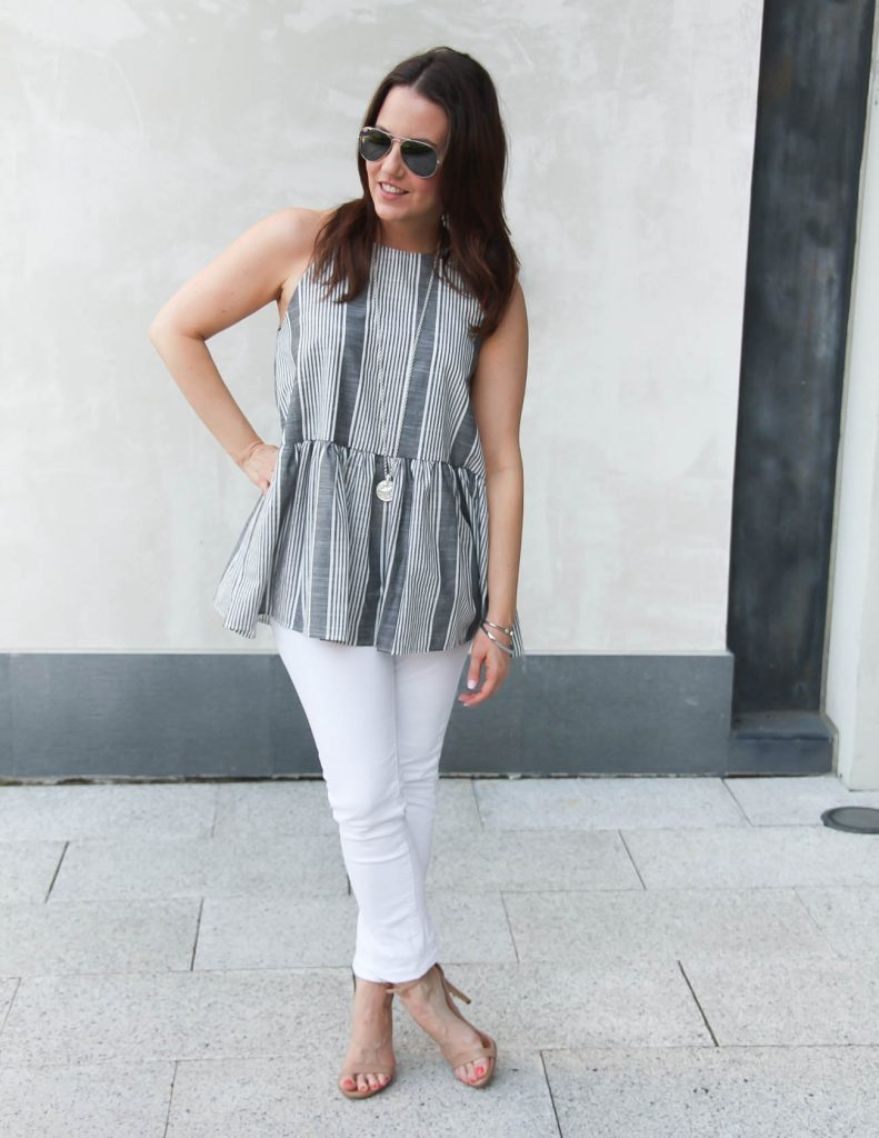 Summer Outfit | Gray Peplum Top | White Skinny Jeans | Lady in Violet | Houston Fashion Blogger