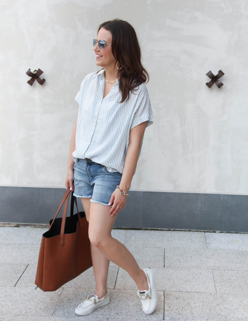 Summer Weekend Outfit | Distressed Denim Shorts | Oversized Striped Top | Lady in Violet | Houston Fashion Blogger