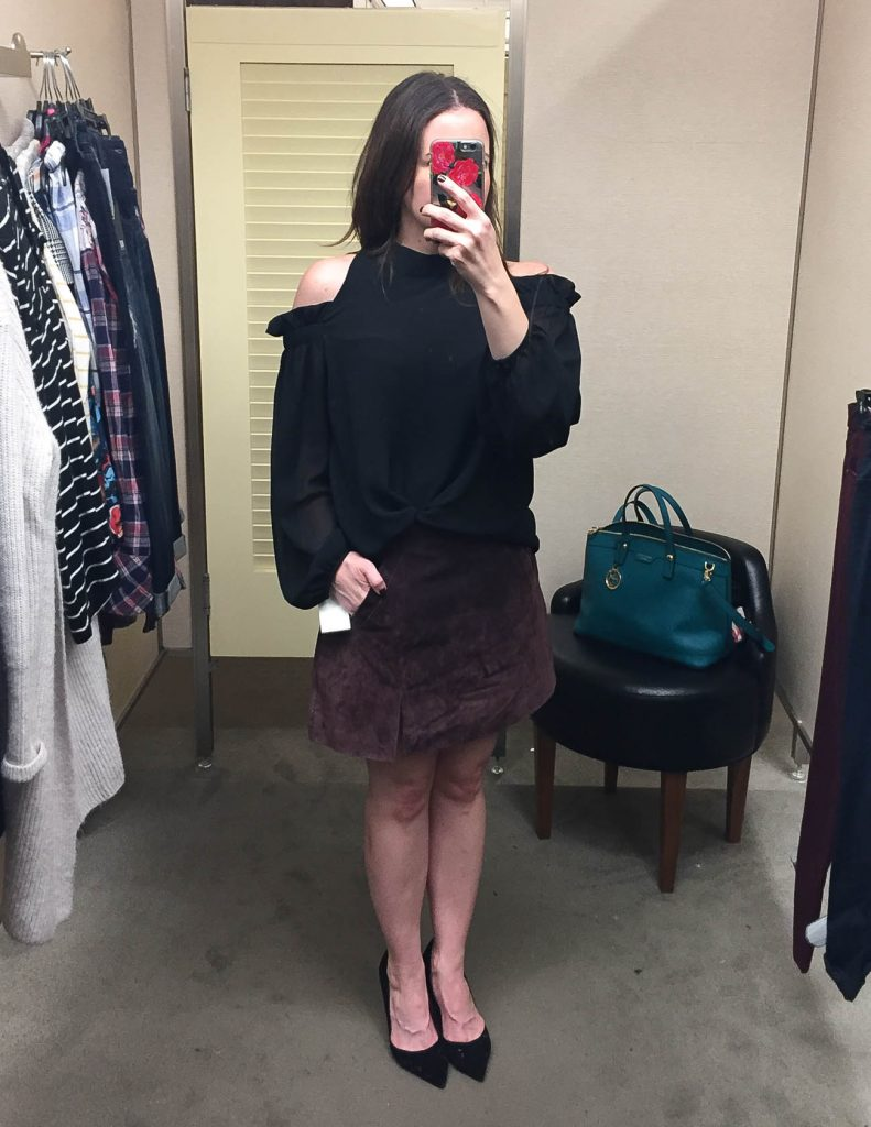 Fall Outfit | Black Cold Shoulder Blouse | Suede Mini Skirt | Lady in Violet