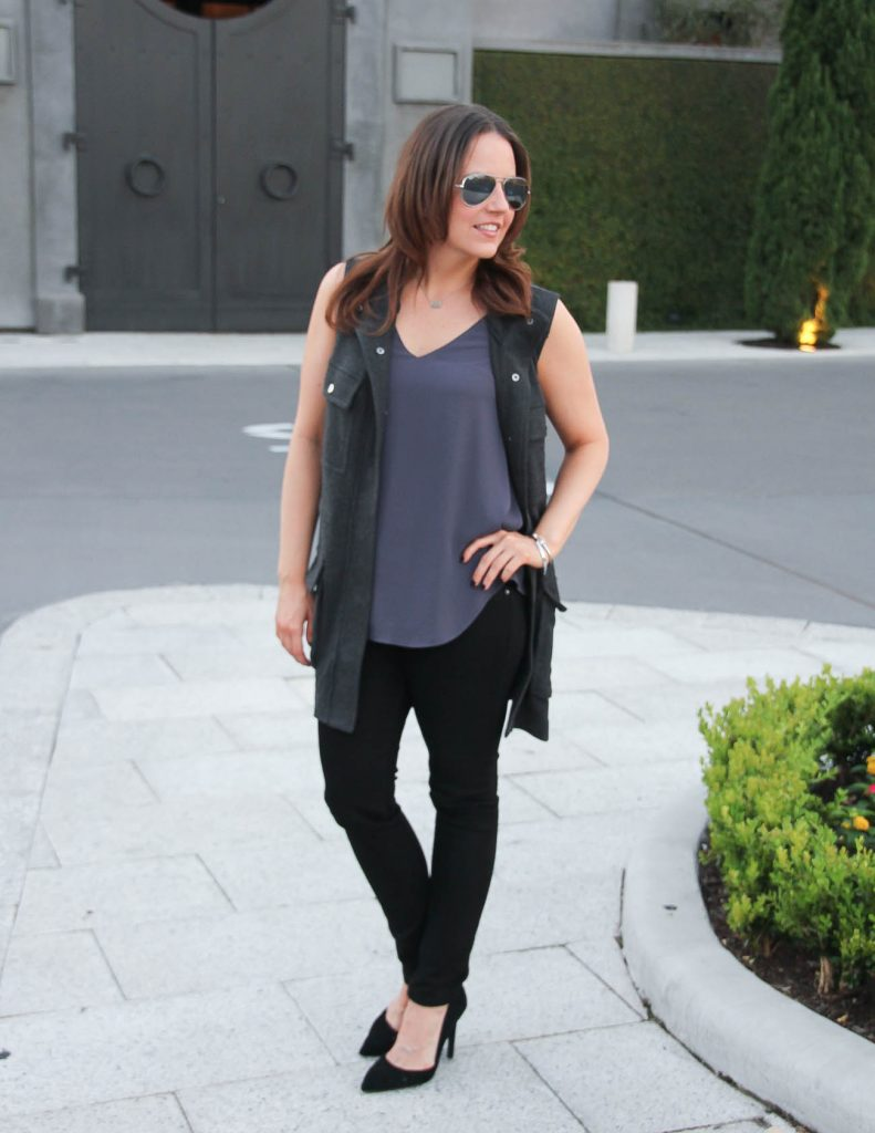Fall Outfit | Purple Cami | Gray Long Vest | Lady in Violet | Houston Fashion Blogger