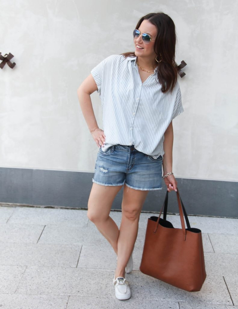 Summer Casual Outfit | Striped Blouse | Denim Shorts | Lady in Violet | Houston Fashion Blogger