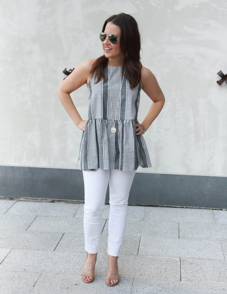 Summer Outfit | Gray Striped Peplum Top | White Jeans | Lady in Violet | Houston Fashion Blogger
