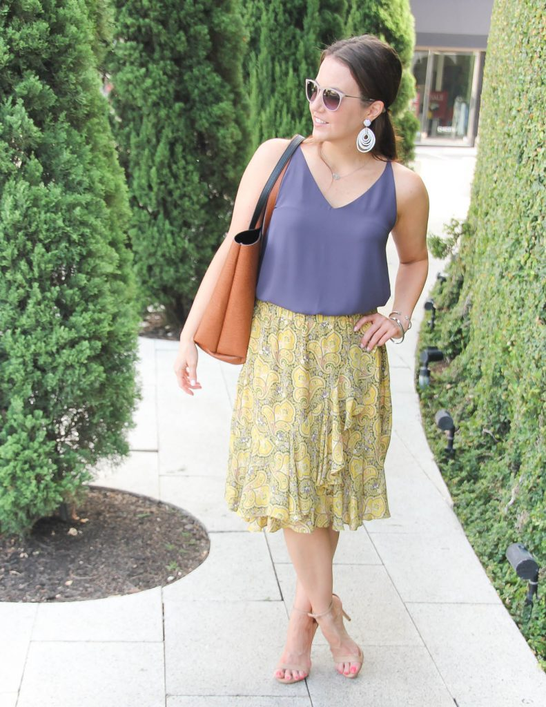 Summer Outfit | Purple Sleeveless Blouse | Yellow Ruffle Skirt | Lady in Violet | Houston Style Blogger