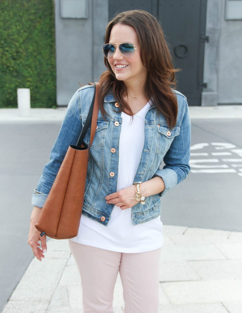 Casual Outfit | Brown Tote Bag | Denim Jacket | Lady in Violet | Houston Fashion Blogger