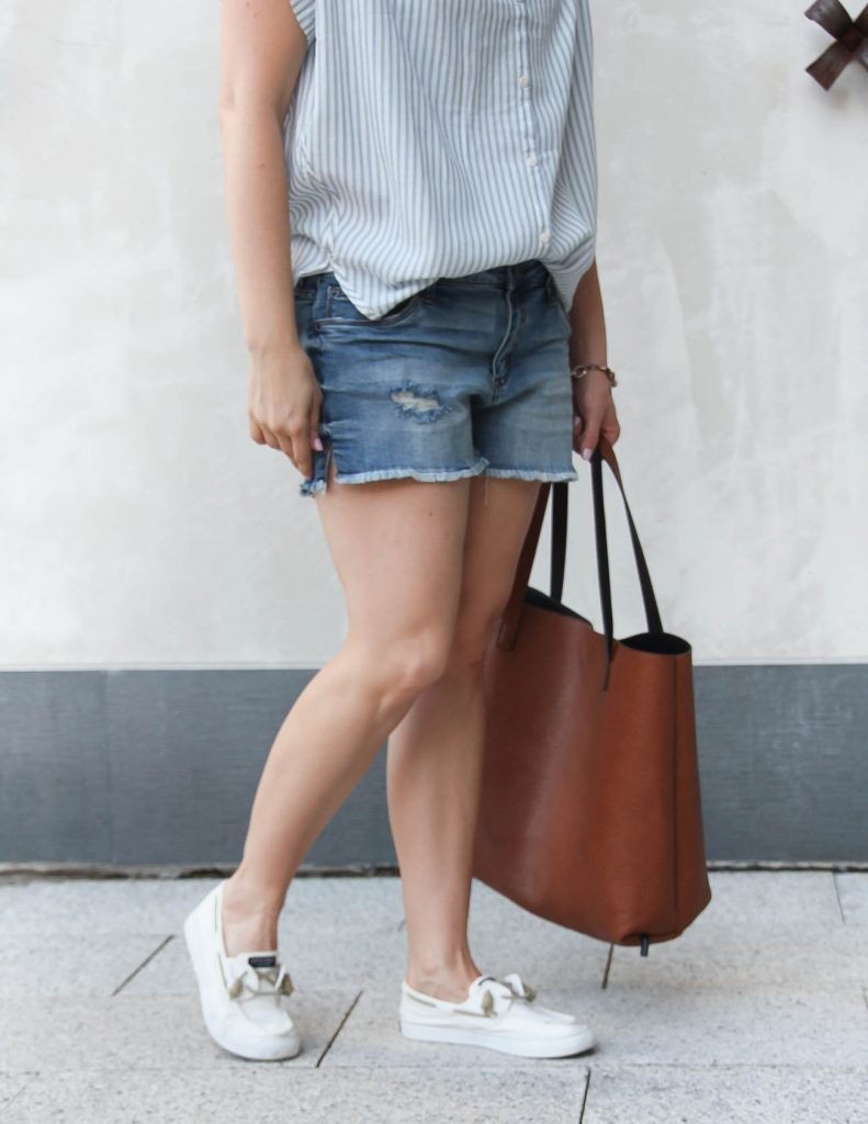 Denim Shorts with White Sperry Slip Ons | Brown Tote Bag | Lady in Violet | Houston Style Blogger