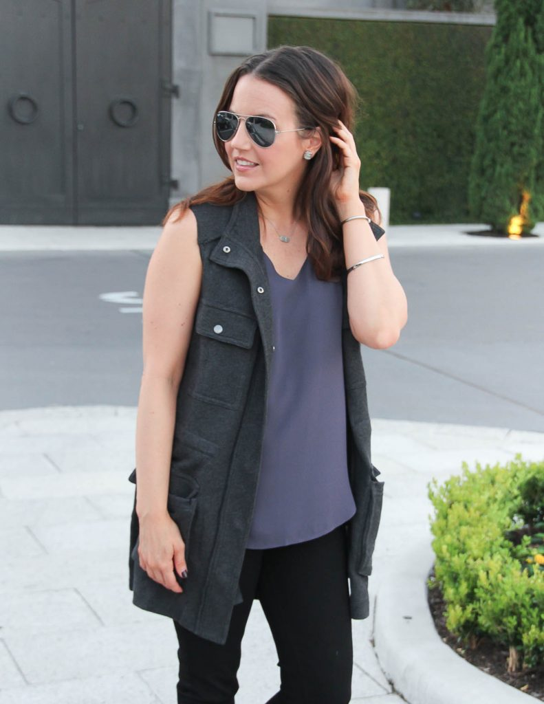 Fall Outfit | Gray Utility Vest | Purple Camisole | Lady in Violet | Houston Style Blogger