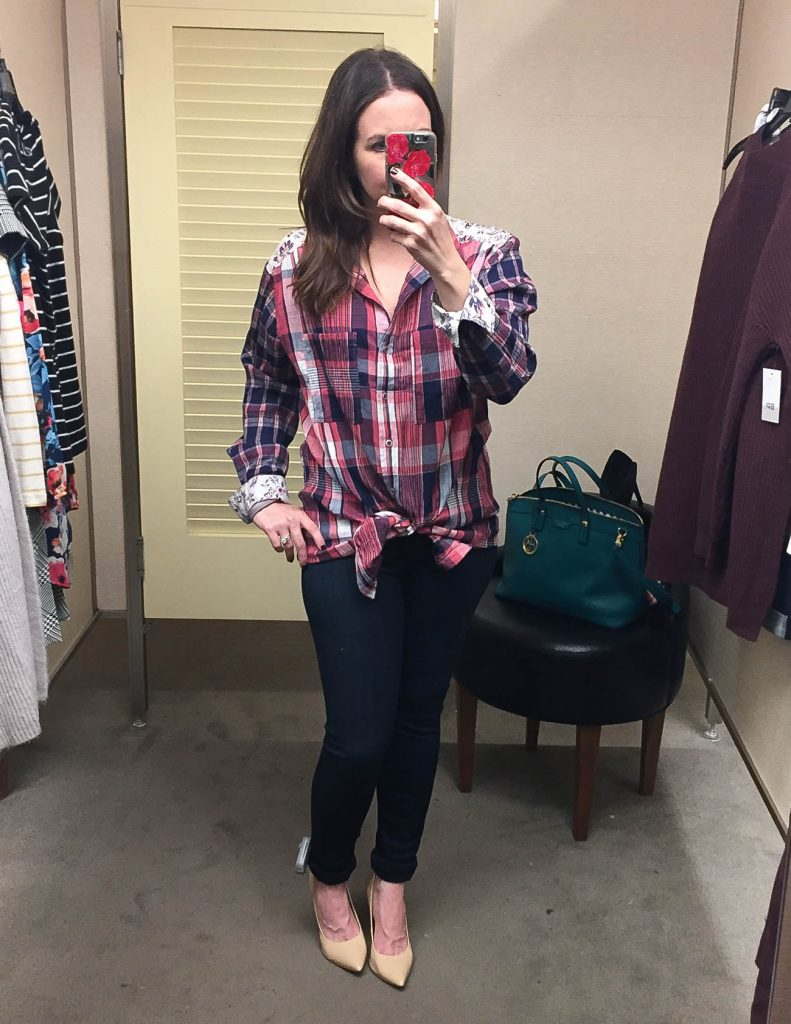 Fall Outfit | Red Plaid Top | Hudson Skinny Jeans | Nordstrom Anniversary Sale