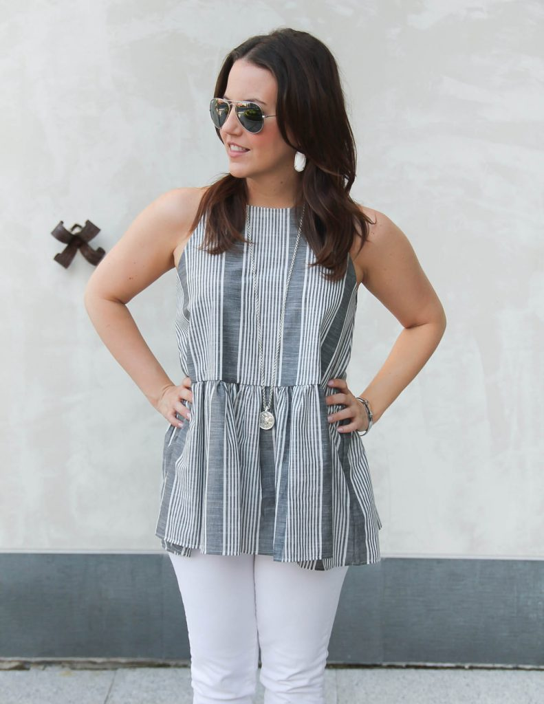 Gray Striped Halter Top | Julie Vos Coin Pendant Necklace | Lady in Violet | Houston Fashion Blogger