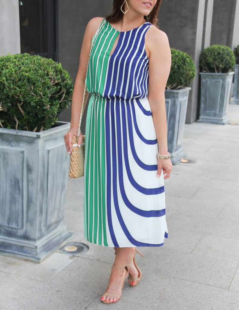 Green and Blue Striped Midi Dress | Summer Outfit for Bridal Shower | Lady in Violet | Houston Fashion Blogger