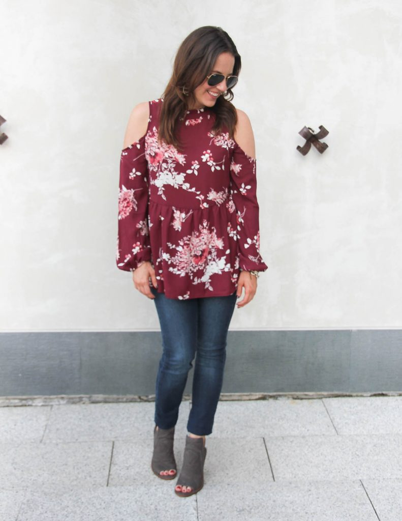 Nordstrom Anniversary Sale Fall Outfit | Cold Shoulder Top | Peep Toe Booties | Lady in Violet | Houston Fashion Blogger
