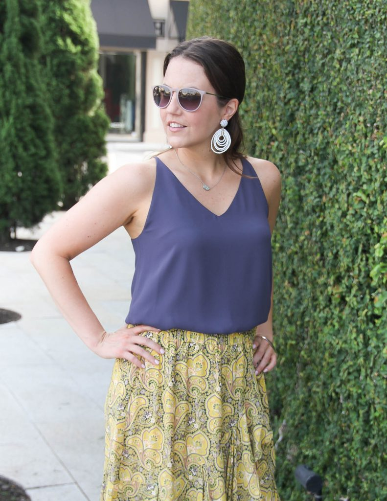 Summer Office Outfit | Purple Camisole | White Statement Earrings | Lady in Violet | Houston Fashion Blogger