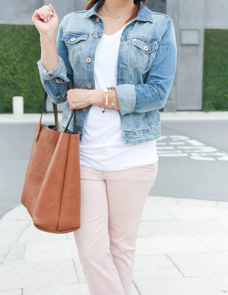 Casual Outfit | Denim Jacket | PInk Cotton Pants | Lady in Violet | Houston Style Blogger | Lady in Violet | Houston Style Blogger