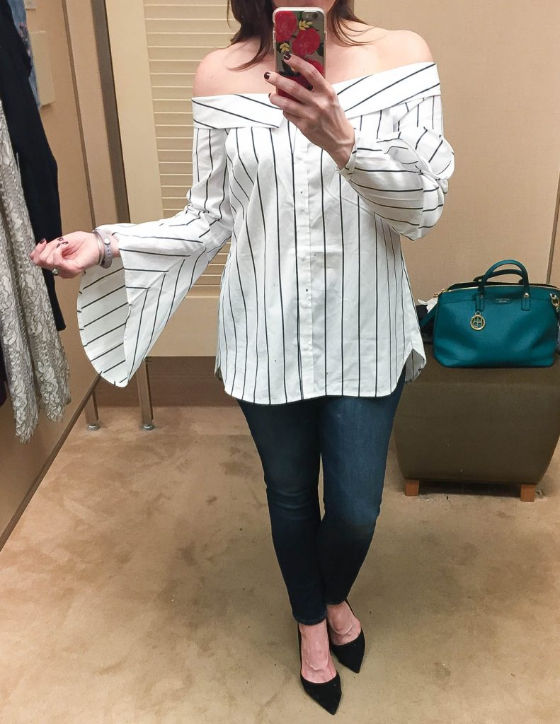 Fall Outfit | Striped Off the Shoulder Button down top | Nordstrom Anniversary Sale 2017