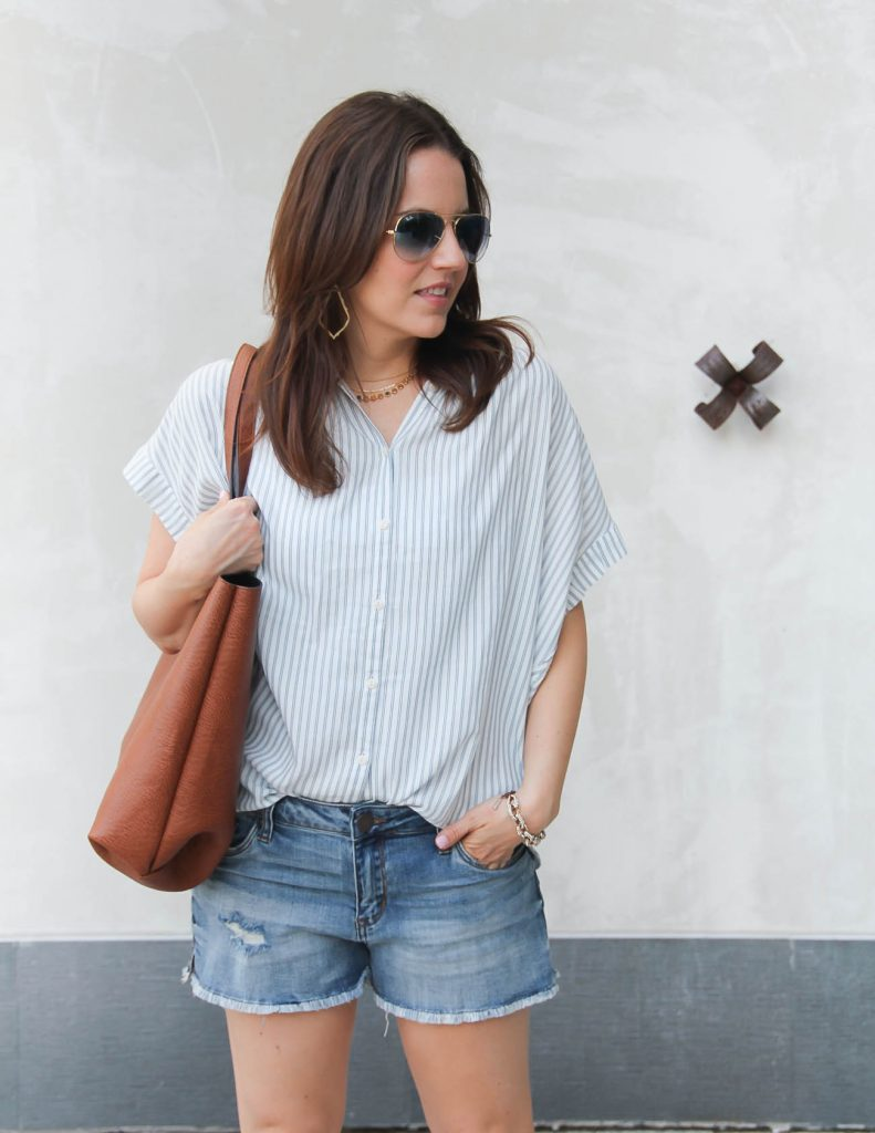 Summer Casual Outfit | Striped Blouse | Denim Shorts | Lady in Violet Houston Fashion Blogger