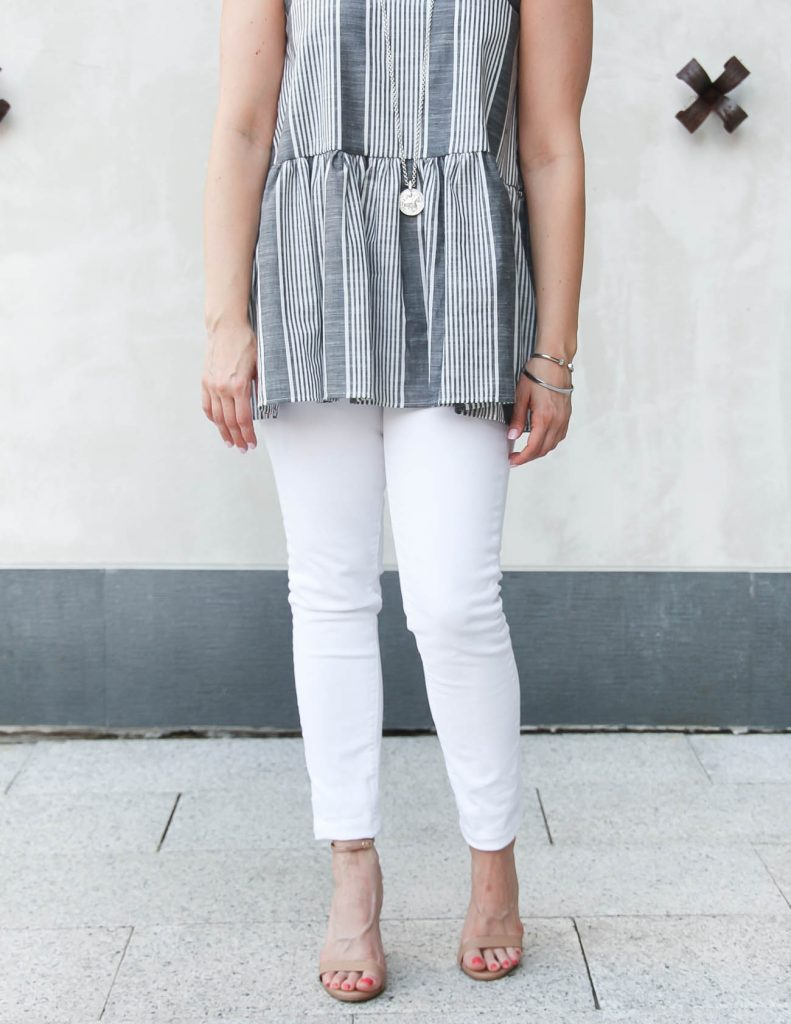 Summer Dinner Outfit | Gray Peplum Top | White Skinny Jeans | Lady in Violet | Houston Style Blogger