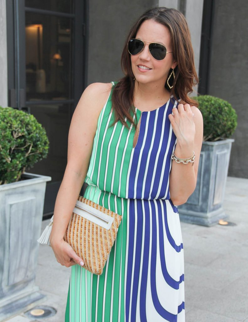 Summer Outfit | Straw Clutch | Gold Drop Earrings | Lady in Violet | Houston Fashion Blogger