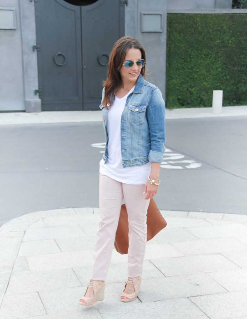 Casual Outfit | White Tee | Denim Jacket | Light Pink Pants | Lady in Violet | Houston Fashion Blogger