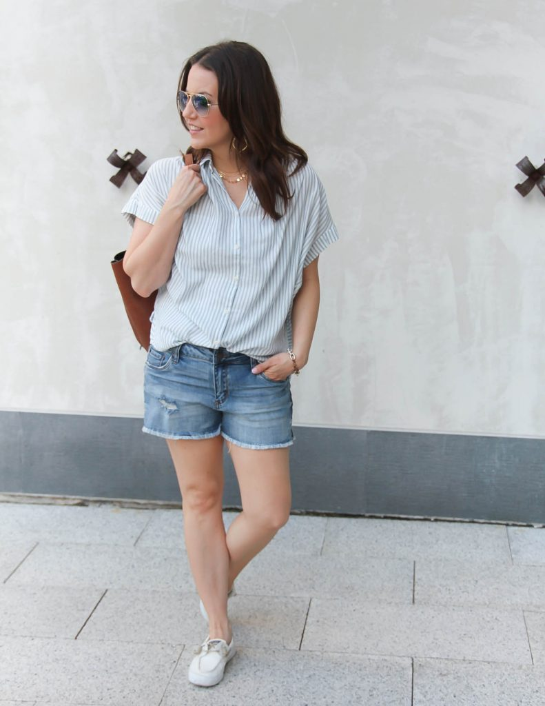 Summer Casual Outfit | Striped Top | Denim Shorts | Lady in Violet | Houston Fashion Blogger