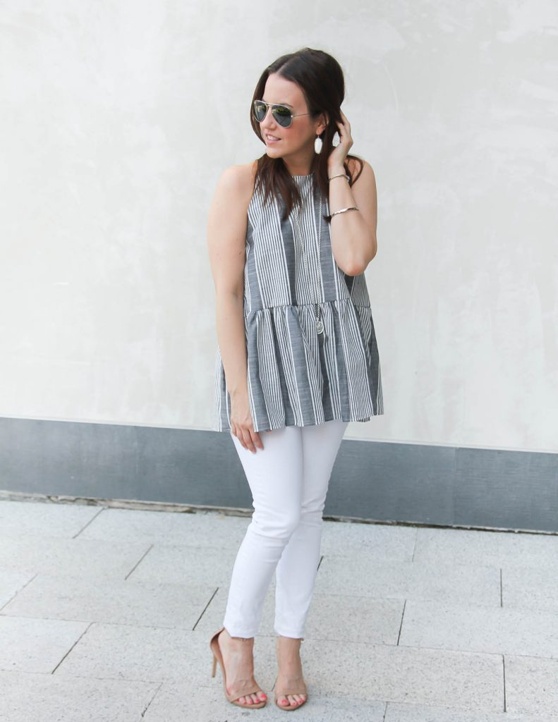 Summer Outfit | Gray Striped Halter Top | White skinny Jeans | Lady in Violet | Houston Style Blogger