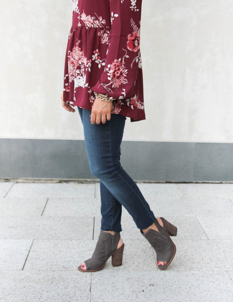Fall Outfit | Articles of Society Jeans | Vince Camuto Peep toe booties | Lady in Violet | Houston Style Blogger