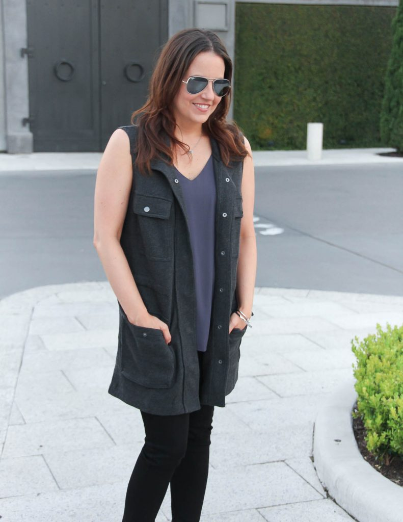 Fall Outfit   Gray Utility Vest   Rayban Aviators   Lady in Violet   Houston Fashion Blogger