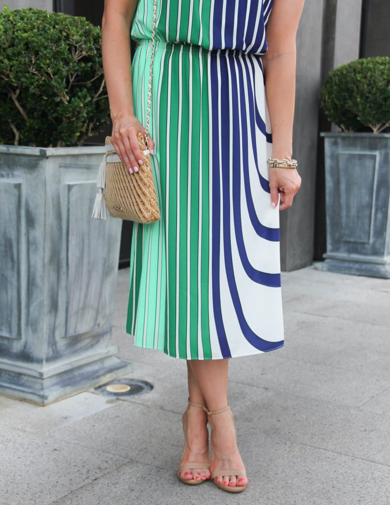 Summer Outfit | Striped Midi Dress | Stecy Sandals | Lady in Violet | Houston Fashion Blogger