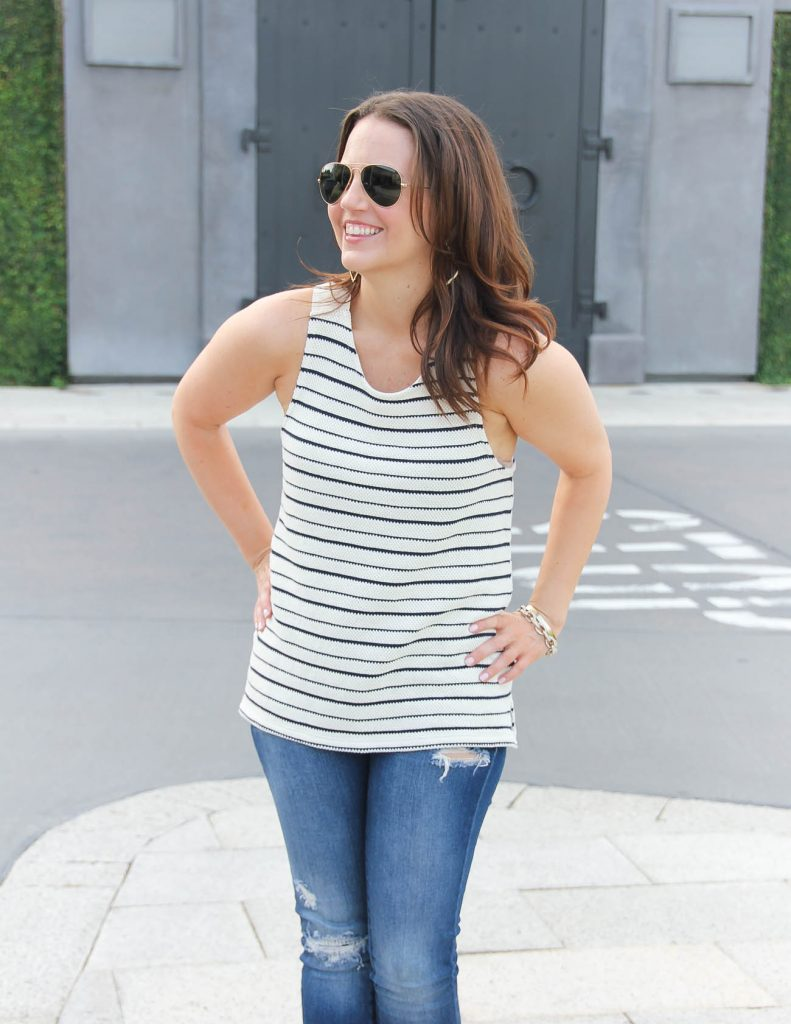 Summer Outfit | Striped Tank Top | Distressed Jeans | Lady in Violet | Houston Style Blogger