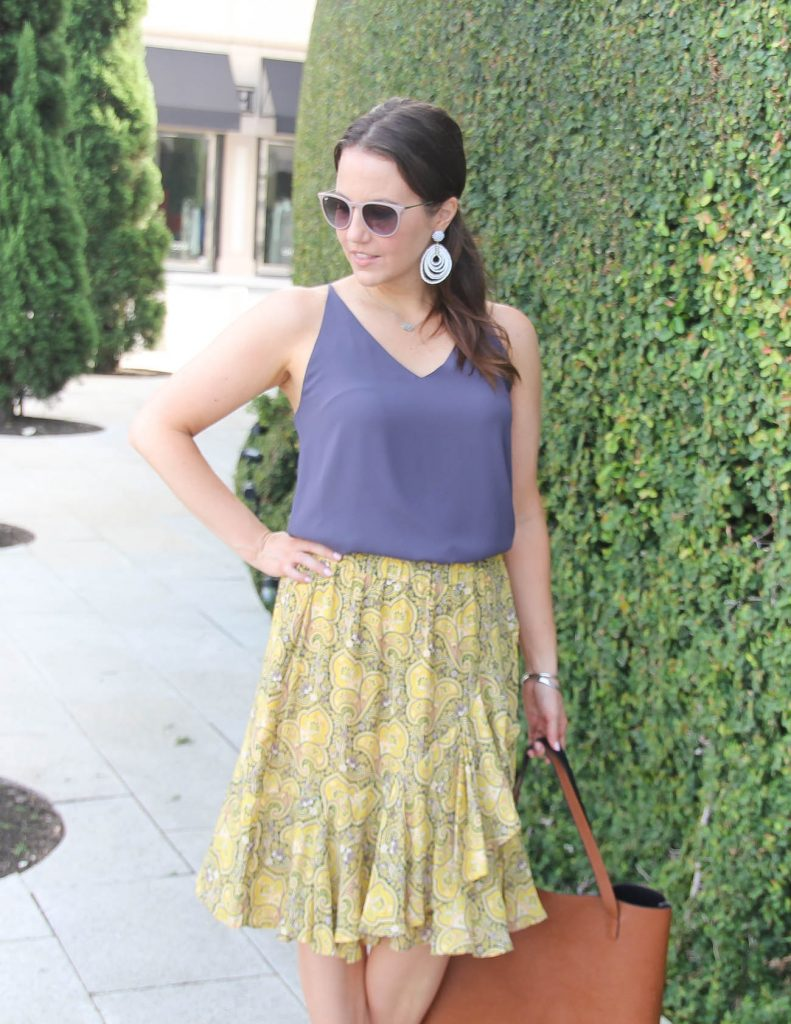 Summer Work Outfit | Purple Camisole | Yellow Ruffle Skirt | Lady in Violet | Houston Style Blogger