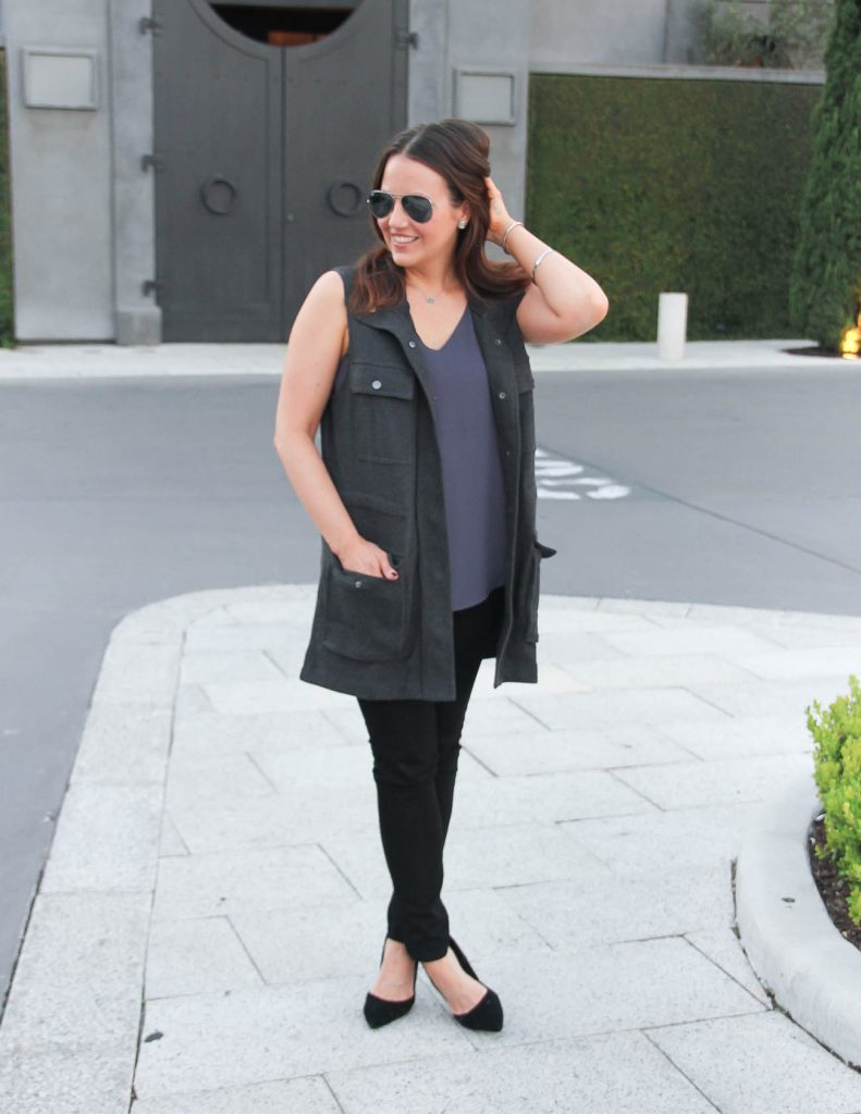 Fall Outfit | Gray Utility Vest | Black Skinny Jeans | Lady in Violet | Houston Blogger