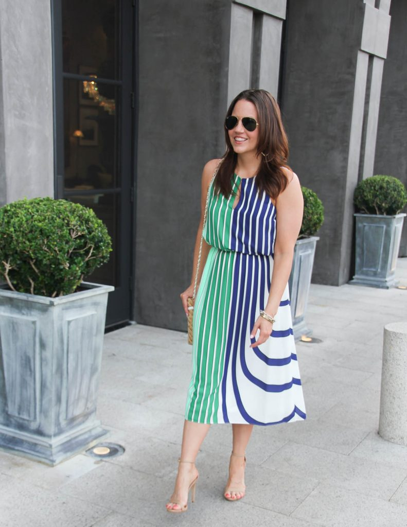 Summer Outfit for Shower | Striped Midi Dress | Lady in Violet | Houston Style Blogger