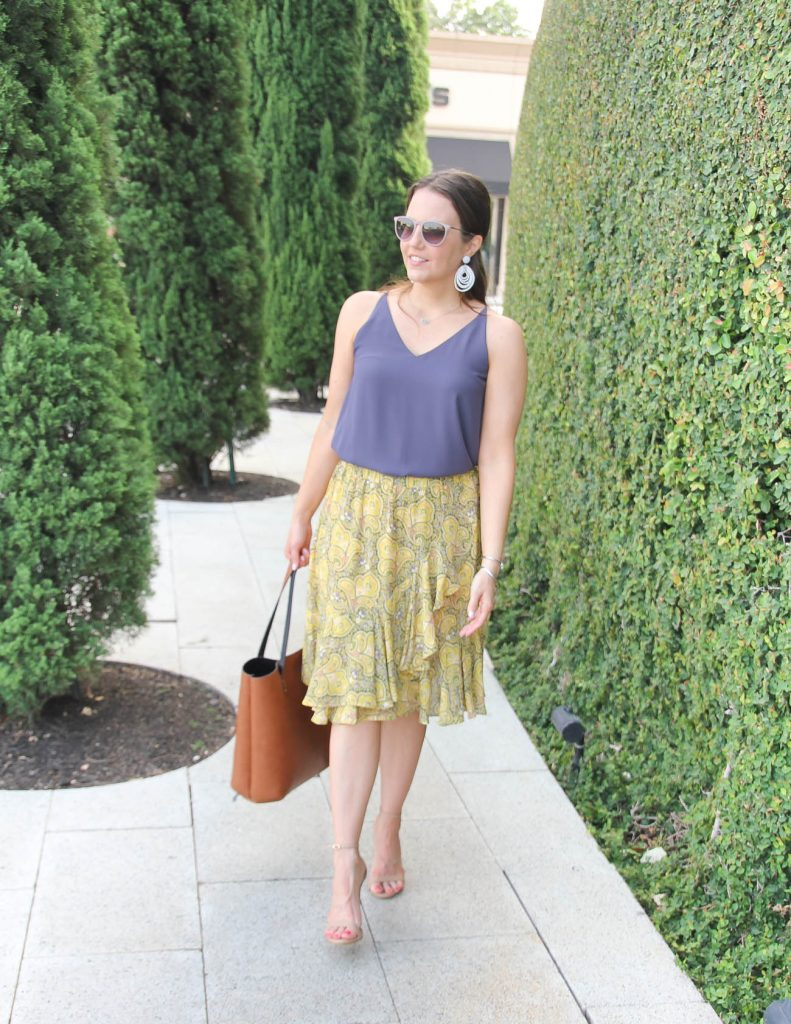 Summer Outfit | Purple Cami | Yellow Ruffle Skirt | Lady in Violet | Houston Fashion Blogger