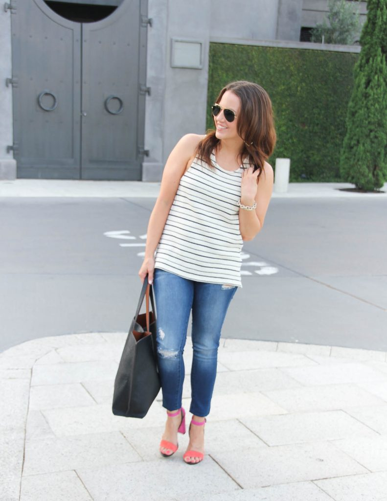 Summer Outfit | Striped Tank Top | Pink Block Heels Sandals | Lady in Violet | Houston Fashion Blogger