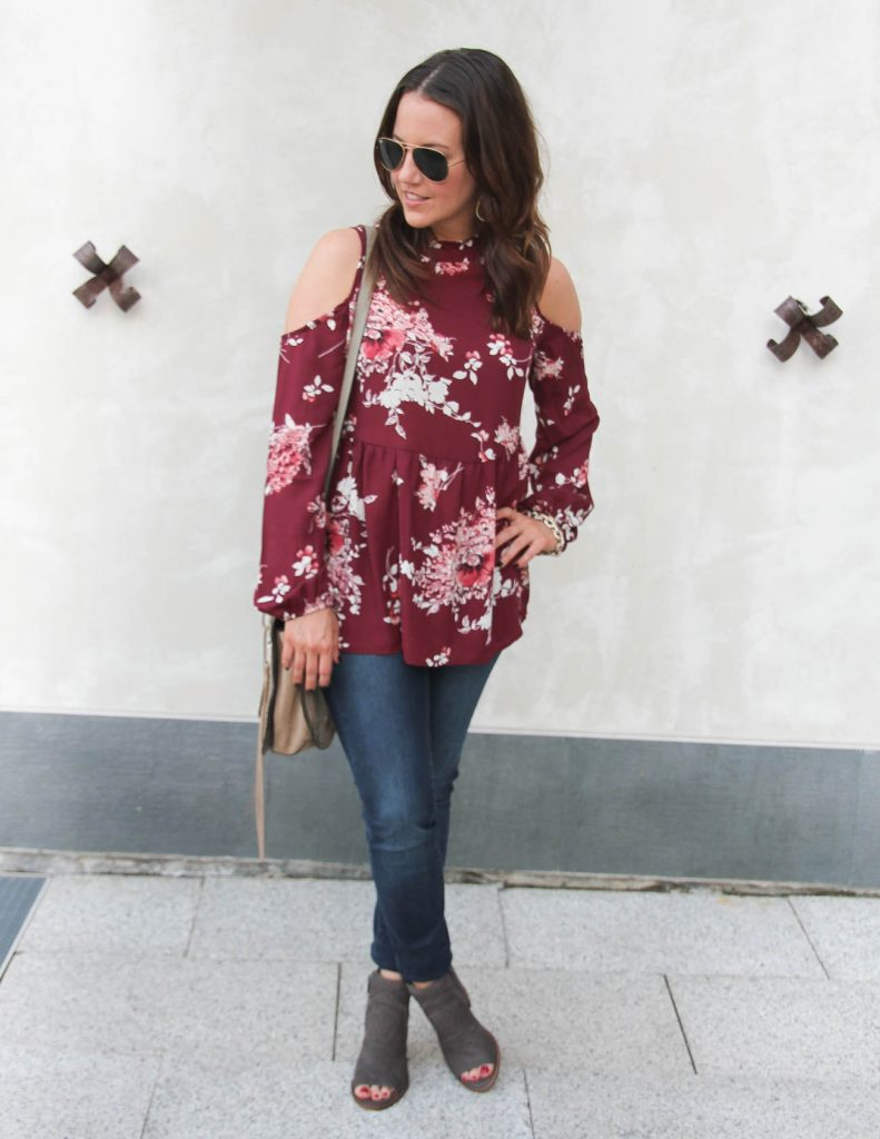 Fall Outfit | Maroon Cold Shoulder Top | Skinny Jeans | Gray Booties | Lady in Violet