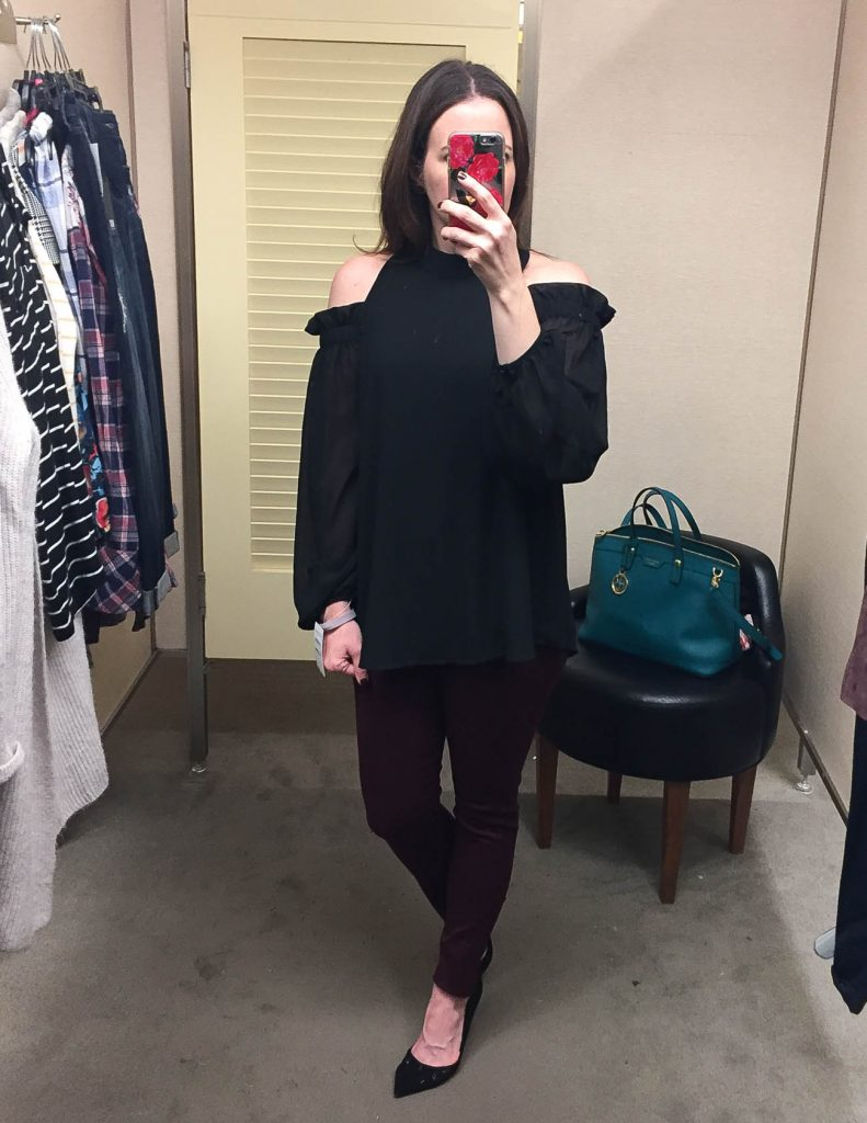 Winter Outfit | Black Cold Shoulder Blouse Maroon Skinny Jeans | Lady in Violet