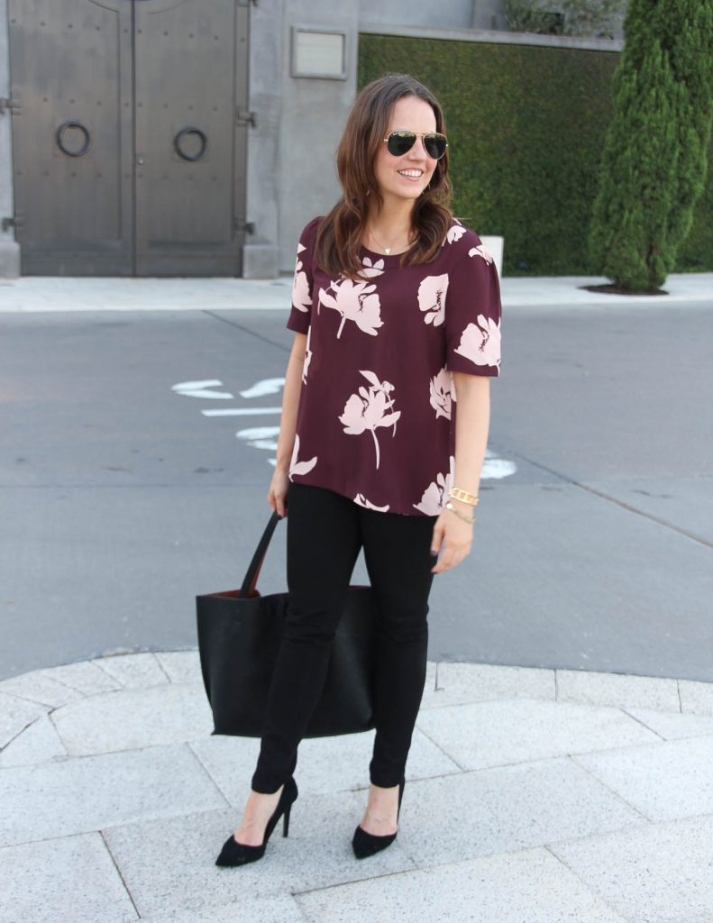Fall Outfit | Burgundy Floral Blouse | Black Skinny Jeans | Lady in Violet | Houston Fashion Blogger