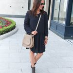 Casual Navy Dress + Peep Toe Booties