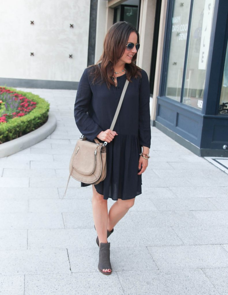 Fall Outfit | Casual Navy Dress | Beige Saddle Bag | Lady in Violet | Houston Fashion Blogger