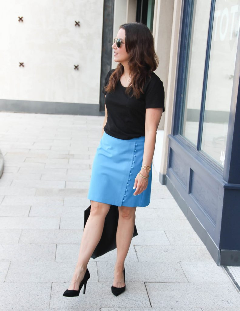 Office Outfit | Black Tee | Pencil Skirt | Lady in Violet | Houston Fashion Blogger