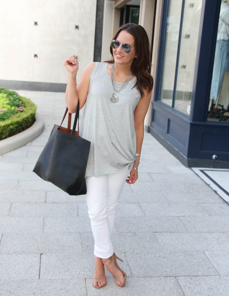 Summer Outfit | Gray Side Tie Tank | White Skinny Jeans | Lady in Violet | Houston Fashion Blogger