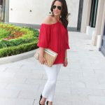 Red Off the Shoulder Blouse + LINK UP