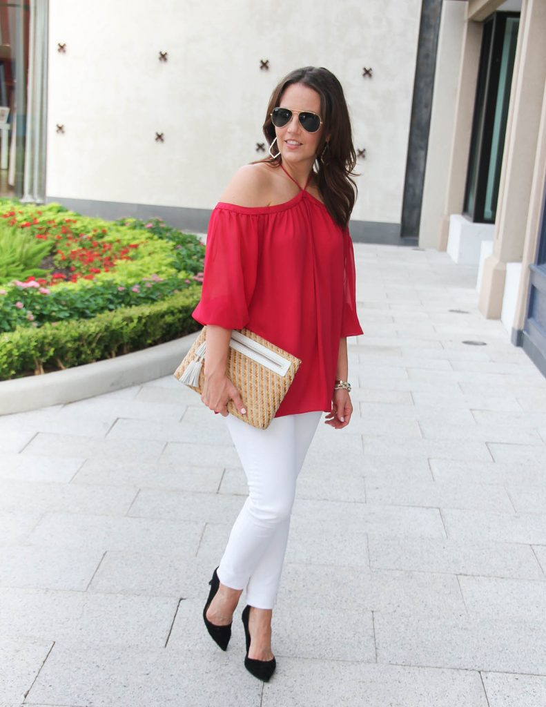 Summer Outfit | Red Off the Shoulder Top | White Skinny Jeans | Lady in Violet | Houston Fashion Blogger