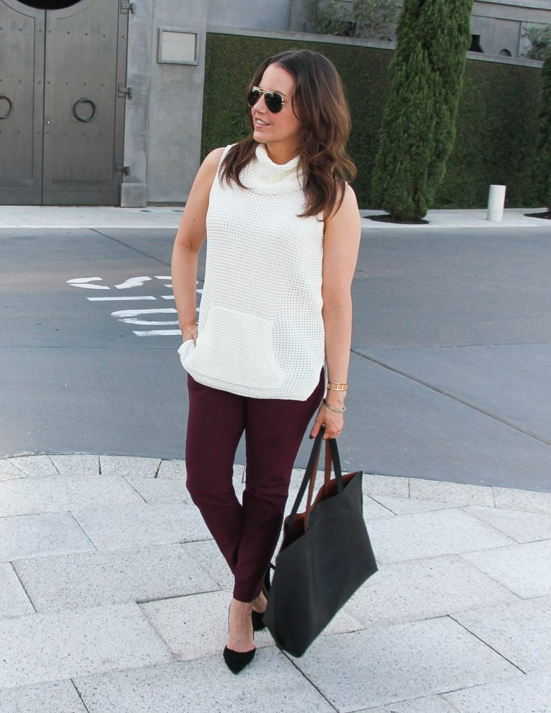 Summer Work Outfit | Sleeveless Sweater | Burgundy Skinny Pants | Lady in Violet | Houston Fashion Blogger