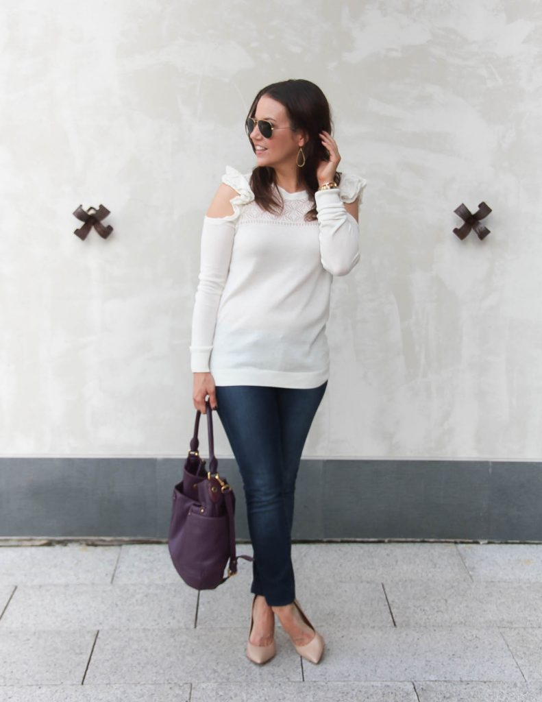 Winter Outfit | Cold Shoulder Sweater | Skinny Jeans | Lady in Violet | Houston Fashion Blogger