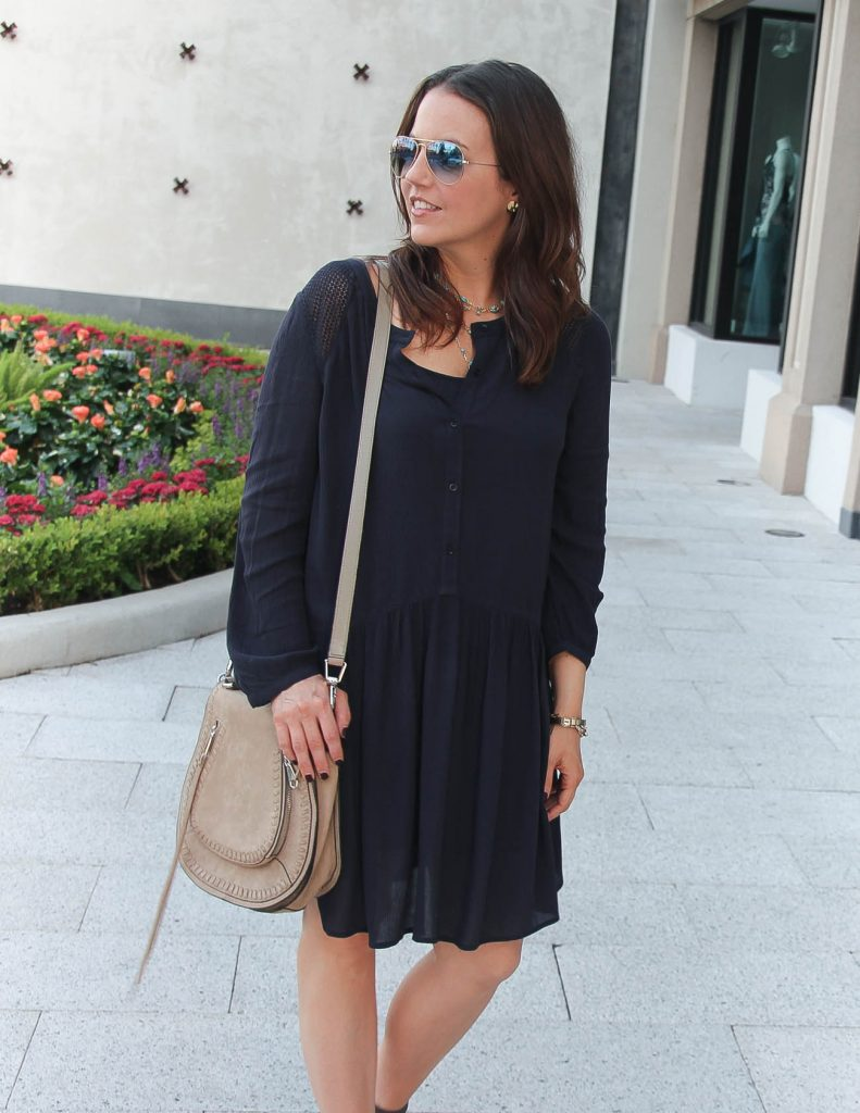 Fall Outfit | Casual Navy Dress | Saddle Crossbody Bag | Lady in Violet | Houston Fashion Blogger