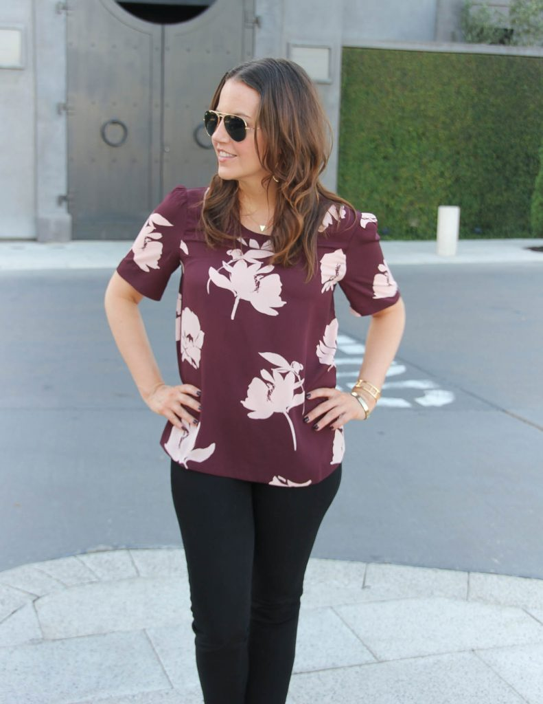 Fall Work Outfit | Short Sleeve Floral Top | Black Pants | Lady in Violet | Houston Style Blogger