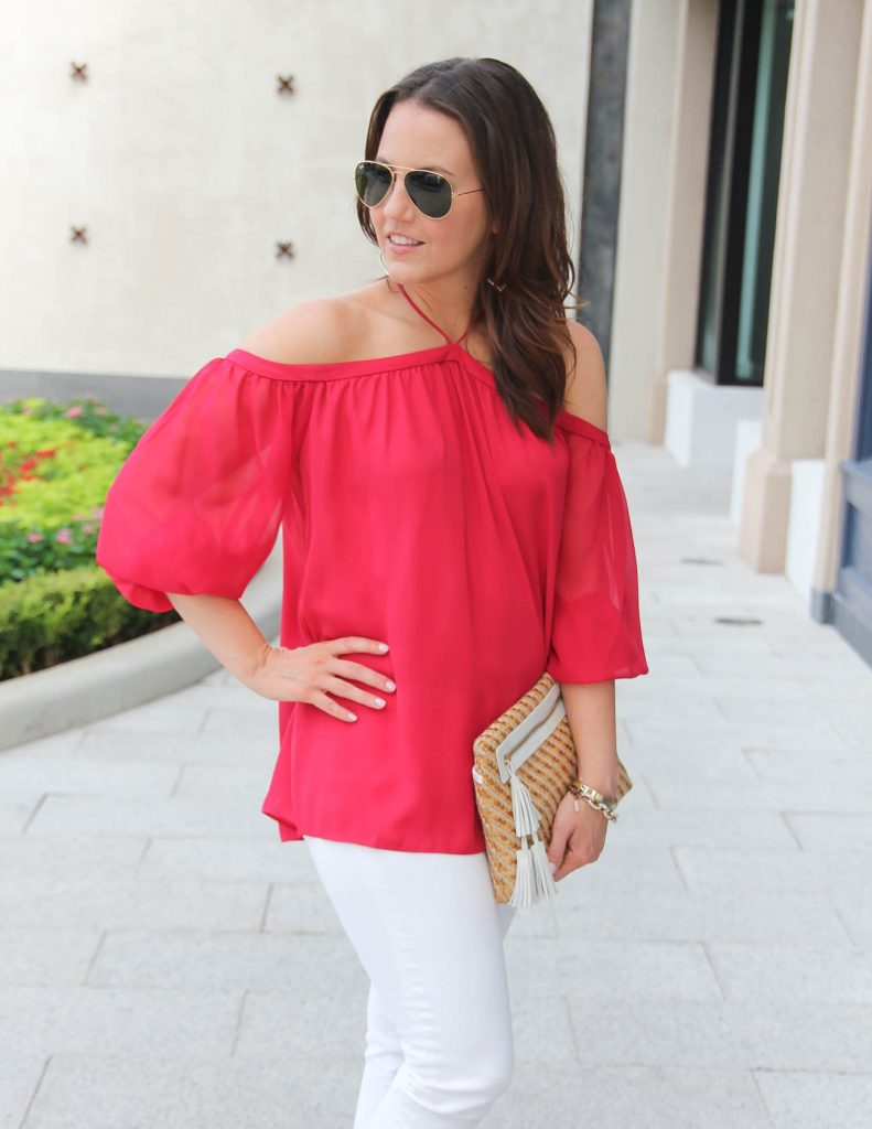 Summer Date Night Outfit | Red Cold Shoulder Top | Straw Clutch | Lady in Violet | Houston Fashion Blogger